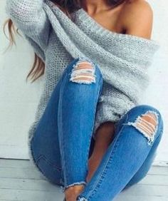 #fall #fashion / gray off-the-shoulder sweater