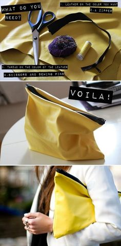 Craft & DIY Inspiration- leather clutch.  I am so sure 123 voila!!!  I will dream that the purse fairy makes this one up for me.  I stand a better chance