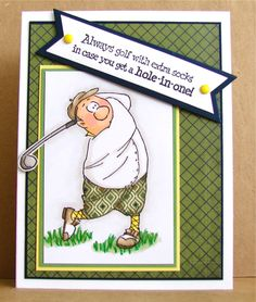 I love paper piecing & Art Impressions stamps, so I pulled out another AI set called Gorden Golfer Set.   This card is also for this week's ...
