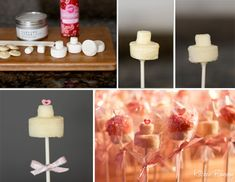Wedding marshmallow pops -- these would make adorable party favors (especially for bridal showers)