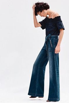 33fa8c4f27d5 high-rise denim with belt around the waist · Wide Leg JeansDenim JeansFlare  JeansBoyfriend JeansVintage ...
