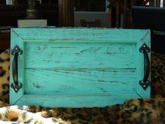 Decorative / Serving Tray Distressed Aqua by EklectikGreen, $20.00