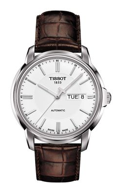 Time has no secrets here, since the automatic movement is always on view through a see-through case back. The Tissot Automatic III timepieces make an elegant statement, punctuated by an astute eye for detail, including a neat day and date display at 3 o'clock. Sophistication meets affordability in a family comprising a selection of colour and material combinations.  Features include a brown leather strap and white dial.