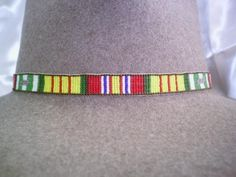 Vietnam Veteran Service Medal Ribbon Beaded Hat band, Beaded Hat band