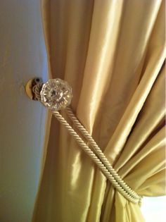 Antique Glass Door Knob Curtain Tie Back DIY    Visit our blog http://vignettesresidentialstaging.blogspot.com/#    FaceBook  Vignettes Residential Staging and DIY Home Decor