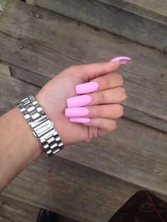 Baby pink square nails