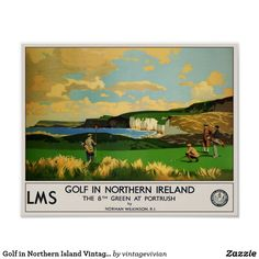 Golf in Northern Island Vintage Travel Poster
