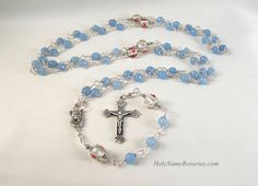 Madonna and Child Rosary Blue Faceted Agate by HolyNameRosaries