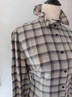 Vintage Plaid Steampunk Victorian High Neck Blouse White Black Check Print Standup Lolita Collar Ruffle Shirt Large LRL Lauren Ralph Lauren by CompulsiveNeurons on Etsy https://www.etsy.com/listing/482306745/vintage-plaid-steampunk-victorian-high