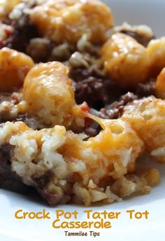 Crock Pot Tater Tot Casserole Recipe- I used Almer Accents Chili instead of RoTel and added some frozen veg under the Tots - a hit with the fam