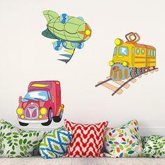 Adesivi per bambini: zeppelin, treno e camion. Adesivi murali bambini a kit. #adesivimurali #decorazione #modelli #mosaico #veicoli #StickersMurali