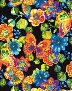 Rainbow Garden II - Island Glow Butterflies - Quilt Fabrics from www.eQuilter.com