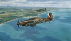 The Chase Two Hawker Hurricane Mk1s of 229 Squadron RAF pursue an Me110 to the French coast during the Battle of Britain.