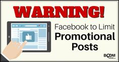 Facebook to Limit Promotional Posts - great explanation on the January 2015 changes (scheduled via http://www.tailwindapp.com?ref=scheduled_pin&post=233295)