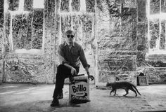 astralsilence:    Andy Warhol & cat, May 20th, 1964. Photo by Sam Falk.