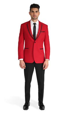Rent the Red Carter Tuxedo, a one button peak lapel tuxedo. Shop online now for rental suits and tuxedos at Stitch & Tie! Tuxedo Jacket, Suit Jacket, Red Tuxedo, Dinner Suit, Prom Outfits, Sartorialist, Mens Suits, Mens Fashion, My Style