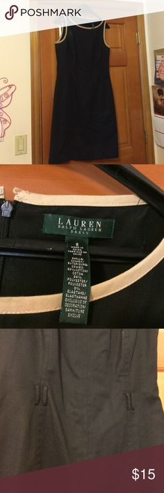 Dress! ✝ Black sleeveless dress, with tan outlines! Needs to be dry-cleaned, but in great shape. Also without belt, but you can have fun with that! ✝ Lauren Ralph Lauren Dresses Midi