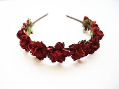 Romantic burgundy roses headband