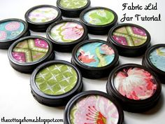 Love these Mason Jar!  Spray paint the ring black and cover the lid with fabric.  Very nice