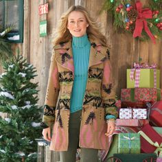 "RIDGE TOGGLE COAT -- A classic pattern gets a modern riff in fresh colors and a fit that's oh-so-flattering. Back waistband. Fully lined. Soft wool/chemical fiber blend. Dry clean. Imported. Sizes S (4 to 6), M (8 to 10), L (12 to 14). Approx. 33""L."