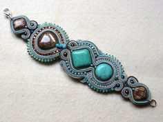 Soutache bracelet Pastel Turquoise Jasper Elegant por KCSoutache