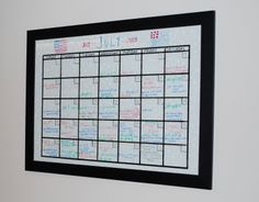 Love this idea of taking a frame and glass and turning it into a dry erase calendar!  From nannygoat