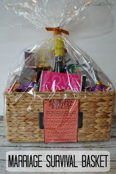 How to make a Marriage Survival Basket #wedding #bacheloretteparty #giftidea