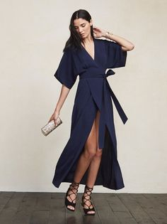 Elle Dress in Navy Blue Kimono Dress, Navy Blue Dresses, Flare Skirt, Maternity Dresses, Wrap Dress, Bridesmaid Dresses, Glamour, Gowns, Style Inspiration