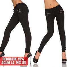 Pantaloni Skinny Black  >> Click pe poza pentru a intra pe site. Pantaloni eleganti de dama din material elastic cu modele  si buzunare in fata. #PantaloniDama  #PantaloniIeftini  #PantaloniFemei  #PantaloniVara #VinereaNeagra #BlackFriday #Reduceri #fashion #BlackFridayFashion #ReduceriBlackFriday Black Friday, Black Jeans, Skinny, Pants, Fashion, Moda, Trousers, Skinny Fit, Fashion Styles