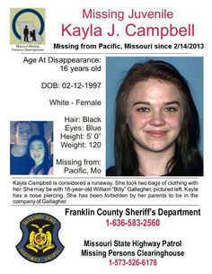 2/14/2013 - Kayla Campbell, 16, missing from Pacific, MO.