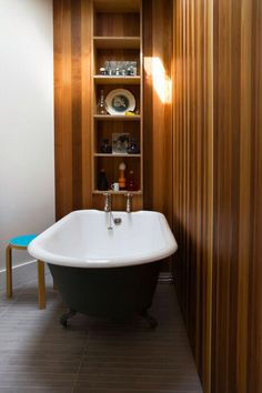 Timber panelling bathroom