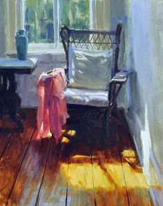Chair by the Window by Charles Iarrobino Oil on linen ~ 20 inches x 16 inches