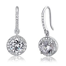Swarovski Icicle - 1.5 Carat Round Cut Simulated Diamond  Solid 925 Sterling Silver Dangle Earrings