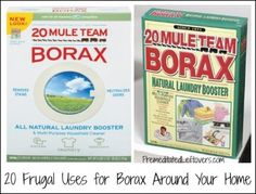 20 frugal ways to use Borax around your home and yard. Tips for using Borax including cleaning tips and ways to to use Borax to get rid of insects and other pests.