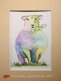 """No. 030 der wandklex-Unikatserie """"Ich war schon immer das Bunte Schaf der Familie"""" - nummerierte Einzelstücke! Ihr eigenes Schaf können Sie als Ihr Designerstück von wandklex® Ingrid Heuser, Ratzeburg, Germany bestellen:  im kleinen Klexshop bei DaWanda auf http://de.dawanda.com/shop/wandklex ©  Kunstatelier wandklex Ingrid Heuser, D-Ratzeburg Besuchen Sie mich auch auf facebook: https://www.facebook.com/wandklex"""