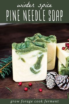 Winter Spice Pine Soap Recipe Learn how to make natural Winter Spice Pine Soap to moisturize dry winter skin. With an amazing sweet-spicy evergreen scent it will be your favorite bar! Christmas Soap, Sweet Orange Essential Oil, Piel Natural, Homemade Soap Recipes, Homemade Soap Bars, Vegan Soap, Goat Milk Soap, Cold Process Soap, Home Made Soap