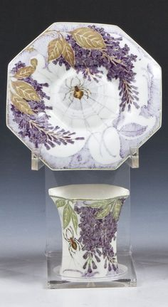 Samuel Schellink for ROZENBURG, porcelain eggshell cup and saucer decorated with lilac branches and spiderwebs, 1907-1908
