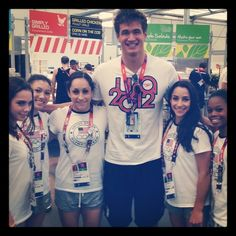 Nathan Adrian with the Fab 5. He is like a whole 2 feet taller than all of those girls. :)