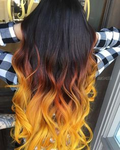 Black to brown to yellow ombre hair - Frisuren - Hair Orange Ombre Hair, Yellow Hair Color, Pretty Hair Color, Brown Ombre Hair, Beautiful Hair Color, Ombre Hair Color, Neon Yellow, Hair Colors, Flame Hair