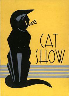 1930s art deco stylized cat gouache illustration