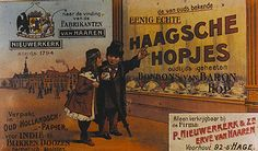 Reclameposter voor de 'Eenig echte Haagsche Hopjes' van fabrikant Nieuwerkerke