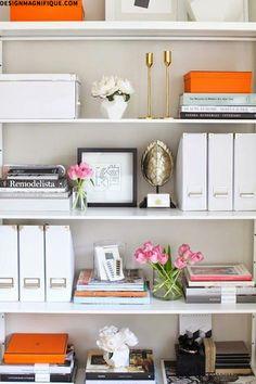Office shelves:  white with pops of orange