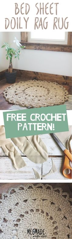 Latest Totally Free Crochet crafts rag rugs Popular Crochet Pattern for a Doily Rag Rug Made from Bed Sheets, Crochet Home Decor, Crochet Crafts, Crochet Doilies, Crochet Projects, Crochet Rugs, Crochet Ideas, Knitted Rug, Love Crochet, Easy Crochet