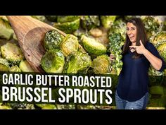 These savory and delicious Garlic Butter Roasted Brussels Sprouts are seasoned to absolute perfection—a perfect side dish for any occasion! Vegetable Side Dishes, Vegetable Recipes, Meatless Recipes, Salad Recipes, Diet Recipes, Baked Garlic, Garlic Butter, Healthy Vegetables, Veggies