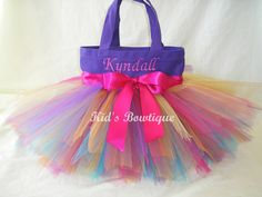 Rainbow Fairy Monogrammed Tutu Tote Bag - Personalized Tutu Bag
