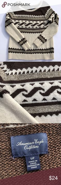 NWOT AMERICAN EAGLE COZY TRIBAL PRINT SWEATER perfect sweater for the upcoming winter months! size small, but obviously a bit oversized so could fit up to the large. very very warm!  🔸feel free to ask for try-ons or more pictures 🔸open to trades, will look at a closet if asked 🔸 prices aren't firm, I can't accept your offer unless you make it! 🔸NO LOWBALLS American Eagle Outfitters Sweaters Crew & Scoop Necks