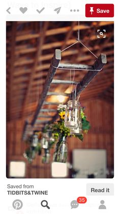 Hanging ladder with mason jar lights at this rustic wedding. Hanging ladder with mason jar lights at this rustic wedding. Old Ladder, Vintage Ladder, Rustic Ladder, Wooden Ladder Decor, Old Wooden Ladders, Wooden Crates, Ladder Wedding, Farm Wedding, Wedding Rustic