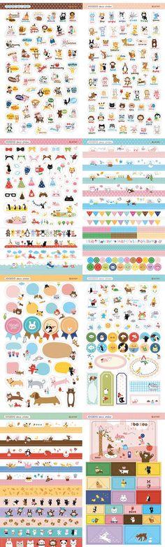 JOOZOO Korean diary DECO STICKER book- kawaii joo zoo stationery (8 sheets). $6.50, via Etsy.
