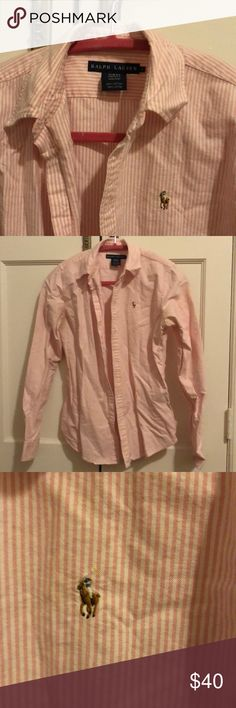 Ralph Lauren Button Down Polo Shirt Ralph Lauren Button down Polo collared shirt / blouse. Pink and white fabric with traditional polo logo on chest. Slim fit style size 6. Great condition. Ralph Lauren Tops Button Down Shirts