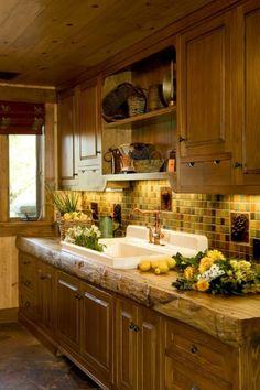 Ranch Kitchen with Rustic Natural Wood Counter - farmhouse - kitchen - santa barbara - Maraya Interior Design Kitchen Redo, New Kitchen, Kitchen Remodel, Kitchen Cabinets, Alder Cabinets, Ranch Kitchen, Kitchen Backsplash, Backsplash Design, Kitchen Corner